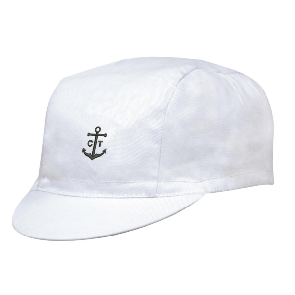 White Cyclist Cap With The Black CapTen Logo