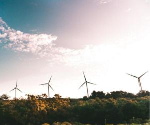 éoliennes dans un champ pour démontrer une initiative de développement durable