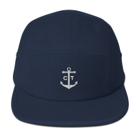navy 5 panel hat capten front
