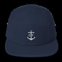 navy 5 panel hat capten front
